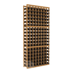8 Column Standard Cellar Kit in Pine with Oak Stain - Wooden wine storage available in pine or redwood plus many stain and finish options. The best rack for an intermediate collector. This rack stores up to 12 cases of wine in 18 bottle columns. You'll love it. We guarantee it.