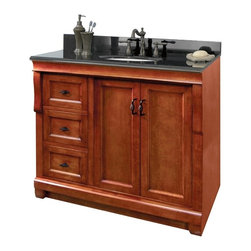 Pegasus - Naples 36 in. Single Vanity - NACA3621DL - Manufacturer SKU: NACA3621DL. Vanity top, faucet, sink, toothbrush holder and backsplash not included. Transitional design. Warm cinnamon finishVanity:. Two doors. Three full extension dovetail drawers. Black birdcage style hardware. Easy to clean PVC coated maple interior. Plywood side construction. No assembly required. 36 in. W x 21.56 in. D x 34 in. H (66 lbs.)Mirror:. 2 in. frame thickness. Secure-mount easy hang system for secure installation. 36 in. W x 32 in. H (22.55 lbs.)