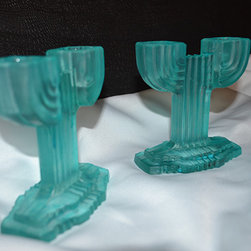 Sea glass painted vintage glass candle stick holders - Rustic Country Collections