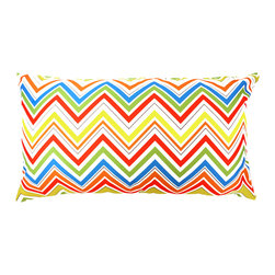 "DD - Multicolored Eddie Outdoor Pillow 24"" x 14"" - This multicolored Eddie outdoor pillow will bring vibrant colors to your backyard that are sure to be the spot light"