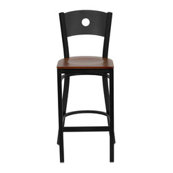 """Flash Furniture - HERCULES Series Black Circle Back Metal Restaurant Bar Stool - Cherry Wood Seat - This heavy duty commercial metal bar stool is ideal for Restaurants, Hotels, Bars, Pool Halls, Lounges, and in the Home. The lightweight design of the stool makes it easy to move around. The tubular foot rest not only supports your feet, but acts as an additional reinforcement that helps secure the legs. You will not regret the purchase of this bar stool that is sure to complement any environment to fill the void in your decor.; Heavy Duty Restaurant Bar Stool; Circle Back Design; .75"""" Thick Plywood Seat; Cherry Finished Wood Seat; 18 Gauge Steel Frame; Welded Joint Assembly; Two Curved Support Bars; Foot Rest Rung; Black Powder Coated Frame Finish; Plastic Floor Glides; Designed for Commercial Use; Suitable for Home Use; Assembly Required: Yes; Country of Origin: China; Warranty: 2 Years; Weight: 14 lbs.; Dimensions: 42.5""""H x 19""""W x 19.5""""D"""
