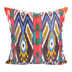 "Magic Carpet Ride 20"" Ikat Pillow Cover - P-A494 - IIkat pillow cover constructed from hand woven Ikat fabric from Uzbekistan. Add some magic to your d̩cor whether modern or traditional, with this colorful Ikat pillow cover, including the colors blue, teal, green, red, yellow, black, and white."