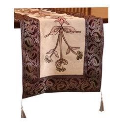 """Banarsi Designs - Hand Painted Deluxe 72-Inch by 17-Inch Table Runner - Bring artistic elegance and warmth to any room with the decorative """"Hand Painted Deluxe Table Runner"""" from our Exclusive Banarsi Collection."""