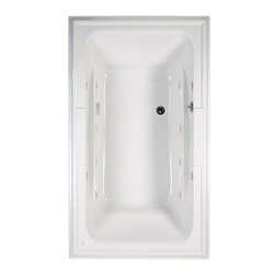 """American Standard - American Standard 2742.048WC.020 Town Square EcoSilent Whirlpool,  White - American Standard 2742.048WC.020 Town Square EcoSilent Whirlpool,  White. This whirlpool tub features an acrylic construction with fiberglass reinforcement, a tub-for-two design with a center drain and dual backrests, dual molded-in arm rests, dual integrated faucet/accessory deck areas, a pre-leveled tub bottom, an EcoSilent whirlpool system, and an electronic on/off control. It measures 71-1/2"""" by 41-3/4"""" by 22""""."""