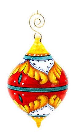 Artistica - Hand Made in Italy - Christmas Ornament: Red Pia Design - Drop Ball Medium - Christmas Ornament