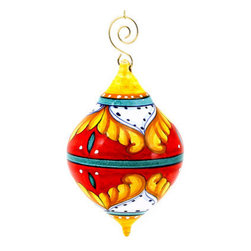 Artistica - Hand Made in Italy - Christmas Ornament: Red Pia Design - Drop Ball Medium - Christmas Ornament