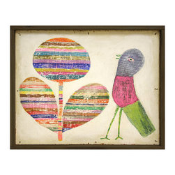 Kathy Kuo Home - Flower and Bird Colorful Vintage Painted Wooden Wall Art - Bright color and childlike whimsy are evident in this wall hanging. It features a stylized balloon flower in multicolored stripes and a wildly banded bird sure to add a bright, folk art statement to your favorite room.