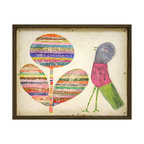 Kathy Kuo Home - Flower and Bird Colorful Vintage Hand Painted Wooden Wall Art - Bright color and childlike whimsy are evident in this wall hanging. It features a stylized balloon flower in multicolored stripes and a wildly banded bird sure to add a bright, folk art statement to your favorite room.