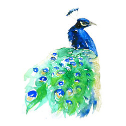 Peacock Archival Print of Original Watercolor by Eva Forest - This inexpensive print offers the perfect pop of peacock hues and would be pretty framed and matted above a desk.