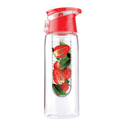 AdNArt - Red Pure Flavour2Go Fruit Infusion Water Bottle - Drink your H2O with a twist! Deciding to drink water is easy, following through is the tough part. To make it more palatable, try spiking your water with fresh fruits, veggies, and herbs. All you need is one handy gadget, the Pure Flavor Tritan Fruit Infusion Water Bottle. To make your own flavor enriched water, you start by adding fresh fruit to the infusion basket, then twist it back on and let the flavor seep through. You choose the ingredients and FlavourIt does the work! With a water bottle and fruit infuser drinking water doesn't seem like a chore anymore, and artificially flavored drinks aren't nearly so tempting. At home, in the office, or out on the trails, the Red Fruit Infuser makes it easy to crank up the flavor.                                     * Capacity: 20oz. * BPA-free * Dishwasher safe * Made with durable Tritan Acrylic