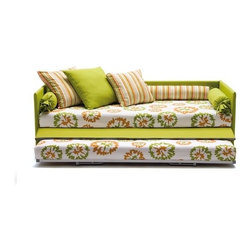 Jack Sofa Bed - I think this is just so pretty! Perhaps the idea of the trundle bed isn't exactly brand new, but I really like the way this company utilizes the fabrics and multi-sized pillows as great camouflage. And the panel that opens to reveal the hidden bed is really appealing.