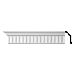 Renovators Supply - Cornice White Urethane Sunderland - Cornice - Ornate | 11199 - Cornices: Made of virtually indestructible high-density urethane our cornice is cast from steel molds guaranteeing the highest quality on the market. High-precision steel molds provide a higher quality pattern consistency, design clarity and overall strength and durability. Lightweight they are easily installed with no special skills. Unlike plaster or wood urethane is resistant to cracking, warping or peeling.  Factory-primed our cornice is ready for finishing.  Measures 4 1/8 inch H x 96 inch L.