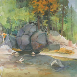 MERCED RIVER Watercolor Painting - 28.5 x 21 inches