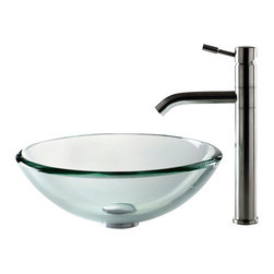 Kraus - Kraus C-GV-101-19mm-2180 Clear 19mm thick Glass Vessel Sink and Aldo Faucet - Add a touch of elegance to your bathroom with a glass sink combo from Kraus