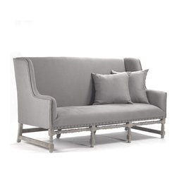 Kathy Kuo Home - Ausbert French Country Gray Linen Dining Bench Sofa - Beautifully detailed, the Ausbert bench is oversized for comfort. Upholstered in a grey linen and hand finished in limed gray oak, this chair has a tall back that intertwines the two essentials of comfort and style.  Perfect for usage as a dining bench or a hallway bench