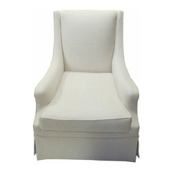 White skirted club chair - Looking for some extra seating in your lving room or bedroom in a crisp, neutral fabric?  Look no further.  This newly fabricated club chair features a modern, streamlined look and is covered in a creamy white herringbone texture with an interesting contrast color inside the pleats of the tailored skirt. Seat height of 18''.