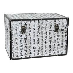 Oriental Furniture - Bamboo Calligraphy Trunk - Featuring beautiful words of Japanese poetry written in traditional Kanji calligraphy, this trunk is an elegant accent for any home or business. Layered on top of a light wash of larger writing, the bold kanji of the poem have an almost three dimensional effect, seemingly popping off the page to float in space before your eyes. This stunning design has been printed on art-quality canvas, wrapped around a sturdy wooden frame, and reinforced on the edges with matching faux leather and rivets. Lightweight and durable with two separate handles, this trunk is hassle-free to move, and you can rest easy knowing that your treasures are protected in its spacious interior by the soft fabric lining. Other conveniences include an inconspicuous interior arm that holds the lid when you need the trunk open, and a pair of external closures that keep it shut tight when you don't. This trunk combines form and function in a stunning package that will bring the lyrical grace of Japan to your interior decor.