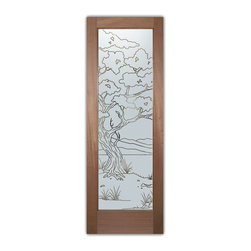 """Interior Glass Doors - Bonsai Tree Pinstripe - CUSTOMIZE YOUR INTERIOR GLASS DOOR!  Interior glass doors ship for just $99 to most states, $159 to some East coast regions, custom packed and fully insured with a 1-4 day transit time.  Available any size, as interior door glass insert only or pre-installed in an interior door frame, with 8 wood types available.  ETA will vary 3-8 weeks depending on glass & door type.........Block the view, but brighten the look with a beautiful interior glass door featuring a custom frosted glass design by Sans Soucie!   Select from dozens of sandblast etched obscure glass designs!  Sans Soucie creates their interior glass door designs thru sandblasting the glass in different ways which create not only different levels of privacy, but different levels in price.  Bathroom doors, laundry room doors and glass pantry doors with frosted glass designs by Sans Soucie become the conversation piece of any room.   Choose from the highest quality and largest selection of frosted decorative glass interior doors available anywhere!   The """"same design, done different"""" - with no limit to design, there's something for every decor, regardless of style.  Inside our fun, easy to use online Glass and Door Designer at sanssoucie.com, you'll get instant pricing on everything as YOU customize your door and the glass, just the way YOU want it, to compliment and coordinate with your decor.   When you're all finished designing, you can place your order right there online!  Glass and doors ship worldwide, custom packed in-house, fully insured via UPS Freight.   Glass is sandblast frosted or etched and bathroom door designs are available in 3 effects:   Solid frost, 2D surface etched or 3D carved. Visit our site to learn more!"""