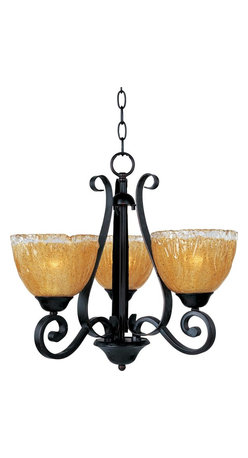 Joshua Marshal - Three Light Oil Rubbed Bronze Amber Ice Glass Up Mini Chandelier - Three Light Oil Rubbed Bronze Amber Ice Glass Up Mini Chandelier