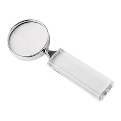 "Kito - 6 7/8"" Polished Stainless Steel Rim 3x Magnifier with Crystal Handle - This gorgeous 6 7/8"" Polished Stainless Steel Rim 3x Magnifier with Crystal Handle has the finest details and highest quality you will find anywhere! 6 7/8"" Polished Stainless Steel Rim 3x Magnifier with Crystal Handle is truly remarkable."