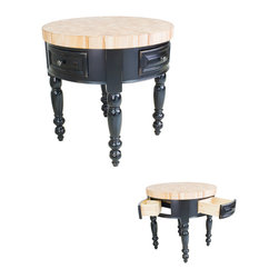 "Hardware Resources - Lyn Design Kitchen Island - Round Kitchen Island by Lyn Design. 3"" Thick End Grain Maple Butcher Block Top Included. Featuring soft-close undermount slides on drawers. Legs ship knockdown. DIMENSIONS: 36"" Diameter x 36"" Overall Height FINISH: Distressed Black with 417BNBDL hardware. -"