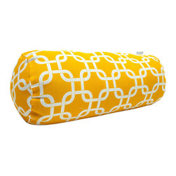 Majestic Home - Outdoor Yellow Links Round Bolster - Bolster pillows add some fun shape variety to your throw pillow collection; they fit well into the corners of your couch or settee, and they make great neck support pillows. This one has a cute, modern print that would brighten up a casual couch, bench or lounger, and it's treated for the outdoors so that you can use it on the deck. The cover can also be removed for easy cleaning. Try it with some white patio furniture.