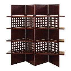 """ACMACM98014 - 4 Panel Trudy Brown Finish Wood Solid Panel and Lattice Room Divider Screen - 4 Panel Trudy brown finish wood solid panel and lattice room divider screen with 4 shelves. Measures (4 x 18"""") x 59"""" H"""