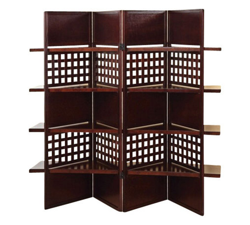 "ACMACM98014 - 4 Panel Trudy Brown Finish Wood Solid Panel and Lattice Room Divider Screen - 4 Panel Trudy brown finish wood solid panel and lattice room divider screen with 4 shelves. Measures (4 x 18"") x 59"" H"
