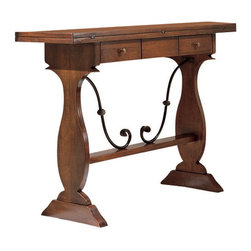 Tuscan Hills - Tuscan Extending Console Table - Made in Italy near the town of Citta di Castello (Umbria), this walnut wood console table is perfect for an entrance way, behind a sofa, or below a piece of wall art. The simple yet beautiful classic Tuscan design is accented with a wrought iron scroll and a slightly antiqued finish - further reminding us of the old world workmanship that goes into every piece.