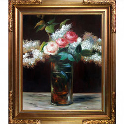 """overstockArt.com - Manet - Roses et Lilas - 20"""" X 24"""" Oil Painting On Canvas Hand painted oil reproduction of a famous Manet painting, Roses et Lilas. The original masterpiece was created in 1883. Today the painting has been carefully recreated detail-by-detail, color-by-color to near perfection. Edouard Manet, a French painter, was one of the first nineteenth century artists to display modern-life subjects in his work. He was a key artist in the transition from Realism to Impressionism. Manet captured many aspects of life in his paintings such as cafe scenes, social activities, war, and even portraits. Enjoy all this artist has to offer whatever your interest may be."""