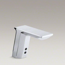 KOHLER - KOHLER Geometric single-hole Touchless(TM) AC-powered commercial bathroom sink f - AC touchless faucet with Insight technology features an adaptive infrared sensor that gathers and analyzes the surrounding area upon installation. After recording these details, Insight calibrates the sensor to filter false triggers and optimize the fauce