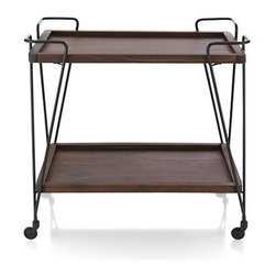 Prost Bar Cart - Classic drink cart rolls out functional drink service in clean, contemporary style. Graceful iron frame takes warm shesham wood trays for a ride on smooth-rolling casters and curbed metal corners that make steering a breeze. Carts up to 50 pounds when moving, 100 pounds when stationary. Trays may exhibit graining, knots, splitting and mineral deposits, naturally occurring and prized attributes of pure wood.