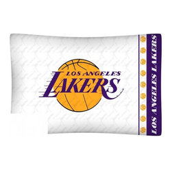 Sports Coverage - NBA Los Angeles Lakers Microfiber Pillow Case - Officially licensed NBA Los Angeles Lakers Microfiber coordinating pillow case to match Comforters, Pillow sham, Bedskirts and Draperies. The Pillowcase only has a white-on-white print and the officially licensed team name and logo printed in team colors. Made from 92 gsm microfiber for extra stability and soothing texture and is 100% Polyester. Wrinkle resistant and stain-resistant. Get your NBA Pillow Case Today.   Features:  -  92 gsm Microfiber,   - 100% Polyester,    - Machine wash in cold water with light colors,    -  Use gentle cycle and no bleach,   -  Tumble-dry,   - Do not iron,   - Pillow case Standard - 21 x 30,