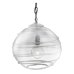 Juliska - Juliska Amalia Globe Pendant Clear - Juliska Amalia Globe Pendant Clear. With a vivacious swirl and chic simplicity, this glamorous globe makes light work of infusing a room with style. Equally fetching when floating alone above a table or as a brilliant line of three over a countertop. 60 watt recommended. Globe is clear glass with silver chain.