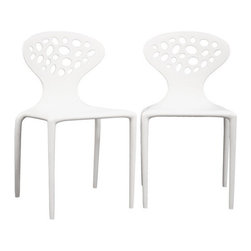 Baxton Studio - Duran White Plastic Molded Chair (set of 2) - The contemporary design of this accent chair includes plenty of