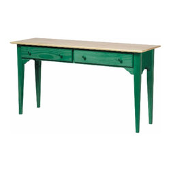 The Renovators Supply - Sofa Tables Hunter Green Solid Pine Sofa Table | 171419 - Enfield Sofa Table. Crafted of solid pine with a Country Pine finish and contrasting Hunter Green legs and sides. This sofa table fits nicely behind a sofa or in a hallway. Great extra storage or easily add accents- you'll see the multifunctional use of this sofa table. Measures 27 1/2 H x 52 W x 16 deep.