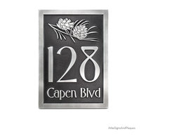 """Conifer Cone Address Plaque 14"""" x 20.5"""" in Pewter Finish - Conifer Pine Cone Plaque Did you know that there are male and female cones? The females produce the seed and the male the pollen. Always the women doing all the work. Anyways, we love the shape and scales on the cone and think it is perfect for the rustic home or even the eclectic modern apartment. This on one is shown in Copper Verdi with raised lettering style but you have it your way.  Each plaque takes on a unique color variance, so all are one of a kind - just like we like it at Atlas."""
