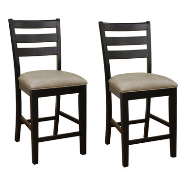 American Heritage - American Heritage Salma Black Slat Back Counter Height Dining Chair (Set of 2) - The Salma black finish solid wood set of two counter height dining chairs feature a handsome ladder back design with easy-to-clean upholstered seats. Some assembly required. Design by American Heritage.