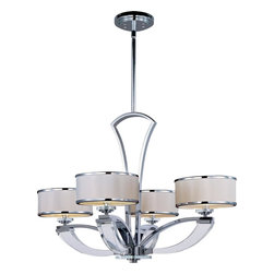 Maxim Lighting - 4 Light 1 Tier ChandelierMetro Collection - Featuring a retro modern look, this 4 Light 1 Tier Chandelier is complemented by white fabric shades and a swept Polished Chrome frame.