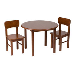 Gift Mark - Gift Mark Home Kids Natural Hardwood Round Table And Chair Set Cherry Finish - The Gift mark Table and 2 Chair Sets are Made of Solid Wood. These Durable Table and Chair Sets will add a touch of sophistication to any child's room or Play Room. Intended specifically for your Child. Children Play for Hours on end. Our Solid Wood Table and Chair Sets clean easily with any High Quality Furniture Polish. All Tools Included for Assembly.