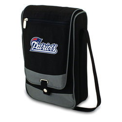 """Picnic Time - New England Patriots Barossa Wine Tote in Black - The Barossa is so sleek and sophisticated, you'll want to take it with you every chance you get. It's made of 600D polyester and features an adjustable shoulder strap that makes it easy to carry and a flat zippered pocket on the exterior flap. The Barossa is fully insulated to keep your wine the perfect temperature and has a divided interior compartment to separate your bottle of wine from the 2 (8 oz.) acrylic wine glasses included. Also included are: 1 stainless steel waiter style corkscrew, 1 bottle stopper (nickel-plated), and 2 napkins (100% cotton, 14 x 14"""", Black with silver pinstripe). The Barossa wine tote is perfect for picnics, concerts, or travel and makes a wonderful gift for those who enjoy wine.; Decoration: Digital Print; Includes: 13 stainless steel waiter style corkscrew, 1 bottle stopper (nickel-plated), and 2 napkins (100% cotton, 14 x 14"""", Black with silver pinstripe)"""