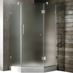 Vigo - Vigo 36 x 36 Frameless Neo-Angle 3/8in.  Frosted/Chrome Shower Enclosure with Le - Both dramatic and space-saving, the Vigo frameless neo-angle shower enclosure creates a beautiful focal point for your bathroom.
