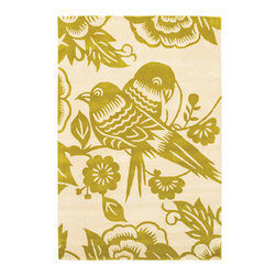 Thomas Paul Lovebirds Corn-Cream Rug - 3' x 5' - Thomas' concept is simple The design concept is to mix unrelated historic design styles - art nouveau, 60's pop art, 70's minimalism, 18th Centurn Baroque - and reinterpret these disparate periods into a unique style with coordinated color palette that works with today's interiors. Price points are accessible to attract a stylish and design driven youth.