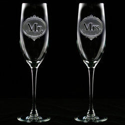 Crystal Imagery, Inc. - Mr. and Mrs. Champagne Toasting Glass Set, Wedding Glasses - Mr. and Mrs. Engraved Champagne Toasting Flute glass set is a unique wedding glass set for use by the bride and groom during their wedding reception,  or this beautiful champagne glass set makes a great anniversary glass set for celebrating many years of marriage and commitment for a special, deserving couple. Engraved gifts for newlyweds and married couples.