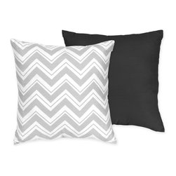 Sweet Jojo Designs - Sweet JoJo Designs Zig Zag Grey/ Black Reversible 16-inch Decorative Pillow - Enhance the look of any space with this decorative throw pillow by Sweet JoJo Designs. This pillow features a solid color on one side and a zigzag pattern on the other. The cover is 100 percent cotton, and its knife edging provides a modern touch.