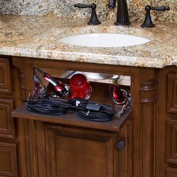 Vanity Valet Secret - Turn unused space into a salon station to store your flat iron, curling irons, and hair dryer.