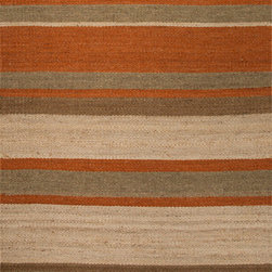 Jaipur Rugs - Naturals Stripe Pattern Hemp Taupe/Red Area Rug ( 5X8 ) - Natural hemp rugs and constructed to last.  Striped colors add interest to any room.