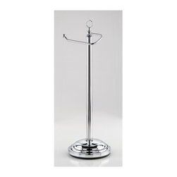 Taymor - Taymor Toilet Tissue Stand (Chrome) - Finish: ChromeFloor standing. Weighted base. Holds single roll toilet tissue. Wipe with clean and soft damp cloth. Do not use polishes, chemicals or abrasives. Manufacture Warranty: 1 year. Made from plated steel. Minimal assembly required. 7.5 in. W x 6.5 in. D x 22.75 in. H (7 lbs.)European pedestal toilet tissue holder with decorative finial holds any size single roll toilet tissue.