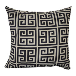 Greek Key Navy Accent Pillow - Living Spaces