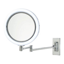 "Decor Walther - Decor Walther BS 13/V Cosmetic Mirror - The BS 13/V cosmetic mirror has been designed and made by Decor Walther.   With vanity mirror BS 13/V Decor Walther completed its wide range of  wall vanity mirror with integrated lighting in contrast to the other  wall mirror the BS - series, the German manufacturer is here fully to  the maximum magnification: The mirrors are made with a 7-fold  magnification, and there by allow a sharp and precise view. this  especially useful if you want to perform its tasks especially cosmetic  accurately thoroughly. thus, at this magnification and everything stays  nice and visible, Decor Walther has the BS 13/V equipped with LED  lighting. This work with a very natural looking light (daylight white),  so that natural skin tones are not falsified.  Product Details:  The BS 13/V cosmetic mirror has been designed and made by Decor Walther.  With vanity mirror BS 13/V Decor Walther completed its wide range of wall vanity mirror with integrated lighting in contrast to the other wall mirror the BS - series, the German manufacturer is here fully to the maximum magnification: The mirrors are made with a 7-fold magnification, and there by allow a sharp and precise view. this especially useful if you want to perform its tasks especially cosmetic accurately thoroughly. thus, at this magnification and everything stays nice and visible, Decor Walther has the BS 13/V equipped with LED lighting. This work with a very natural looking light (daylight white), so that natural skin tones are not falsified.  In additional to the 7-flod increase in both side mirrors also have a page with a simple mirror surface without magnification. Through a simple rotation of the mirror head can be no time lost between the two side mirror switch.                                      Manufacturer:                                      Decor Walther                                                                  Designer:                                     In House Design                                                                  Made in:                                     Germany                                                                  Dimensions:                                      Diameter: 8.66"" ( 22 cm) X Heigth: 12.99"" (33 cm ) X Depth: 14.17"" (17 cm)                                                                  Light bulb:                                      54 x LEDs Max 2W                                                                  Material:                                      Metal"